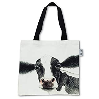 Abbott Collection 56-TB-CN-05 Rosa Cow Tote Bag-15x16 L, White and Black
