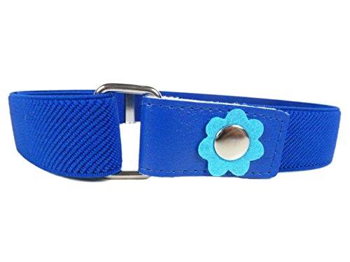 Cinturón Elástico para los Niñas 1-6 Años, Flor Clip Diseño. Azul Real