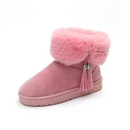 HSXZ Scarpe da donna in pelle di Nappa Autunno Inverno Comfort stivali Flat punta chiusa Babbucce/stivaletti di abbigliamento casual rosa grigio nero Pink