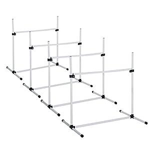PawHut Agility Sport pour Chiens Set de 4 Obstacles avec Système de Maintien Au Sol Sac de Transport 95 x 65 x 95 cm