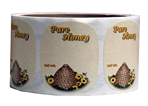 Mann Lake 250 Count Sunflower Honeybee Skep Label, 2 by 2-3/8-Inch 1
