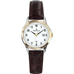 Certus - 645349 - Montre Femme - Quartz Analogique - Cadran Blanc - Bracelet Cuir Marron