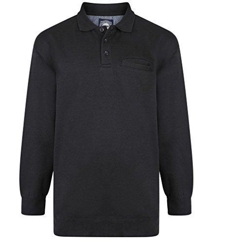 kam baumwollreich Polo Kragen Pullover (507) - Schwarz, 6XL CHEST (68 - 70 INCHES) (Tall-gerippter Big-und Pullover)