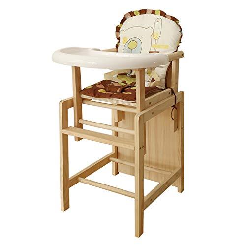 En bois Chaise de bébé de sécurité, Multifonction Pliable Chaise de salle à manger pour bébé Chaise haute ergonomique, Chaise de salle à manger portable pour enfants avec plateau et coussin de protect