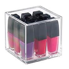 iDesign Porta trucchi con coperchio (10,2 cm x 10,2 cm x 10,2 cm), Piccolo organizer cosmetici in plastica priva di BPA, Scatola trucchi in acrilico, trasparente