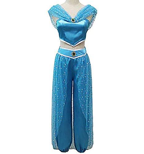 FeMereina Frauen Jasmin Prinzessin Cosplay Kostüme Bauchtanz Dress Up Anime Lampe Kostüme Party Abenteuer Outfit Dunkelblau (S, - Blau Prinzessin Jasmin Kostüm