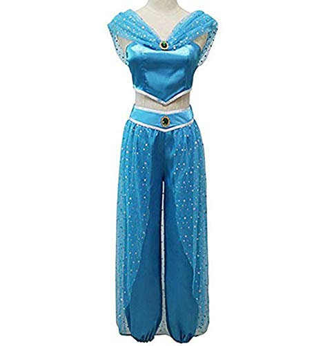 Blau Kostüm Jasmin Prinzessin - FeMereina Frauen Jasmin Prinzessin Cosplay Kostüme Bauchtanz Dress Up Anime Lampe Kostüme Party Abenteuer Outfit Dunkelblau (S, Dunkelblau)