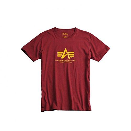 Alpha Industries Herren Regular Fit T-Shirt Basic T-Shirt Burgundy