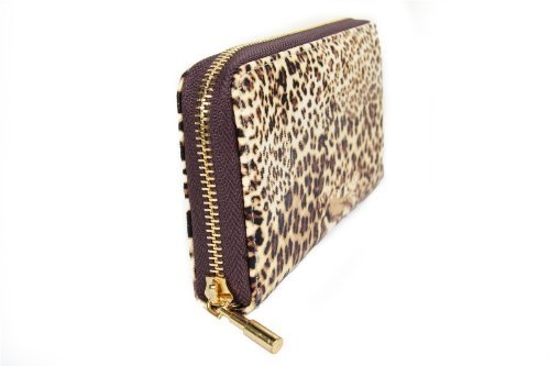 FreshGadgetz 1 Set di Portafoglio da donna con stampa Ghepardo o Leopardo delle Nevi (White) Marrone