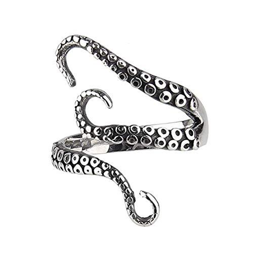 Ogquaton Pulpo negro premium anillo personalidad ajustable