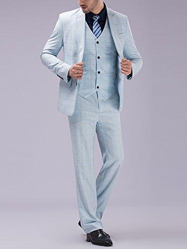 Tsui-Fashion Men's Plaid Vest Business Suits Three Piece XZ00272BL Light Blue