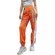 Kairuun Mujer Otoño Casual Cintura Alta Hip Hop Pantalones Deportes Suelto  Pantalon Naranja 5eb50ad67ca