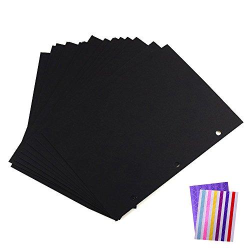 Fotoalbum Papier Schwarze Nachfüll Seiten für Scrapbook Album 26 x 18cm, 24 Stück ( für Hand, Feder und Fahrrad Fotoalbum Groß ) (X18 Einfügen 18)