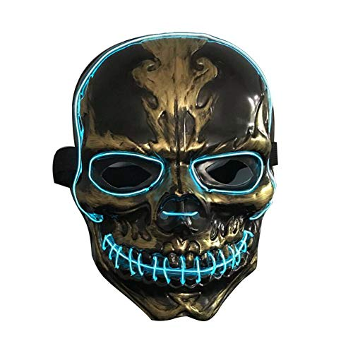 asquerade Grimace Horror Glowing Maske, Nightclub Bar Atmosphere LED-Leuchtmaske, Flash Cheering Props Halloween Scary Mask ()