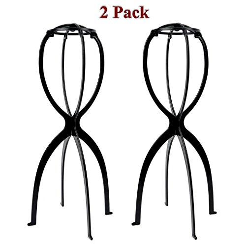 2 Perückenständer Perückenhalter Plastik Ständer Halter Geeignet für Längere Perücken 50cm Schwarz