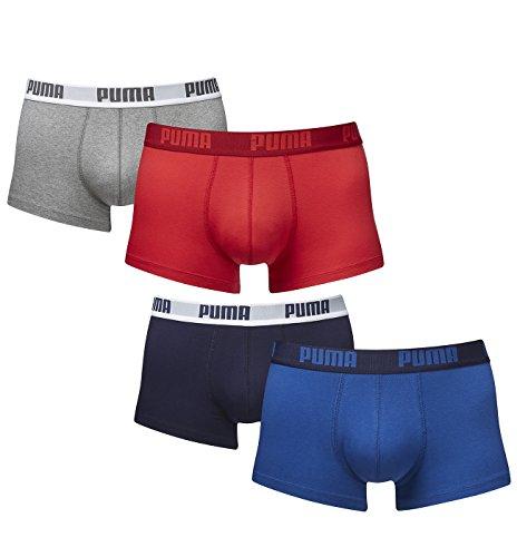 Puma Herren Shortboxer Basic Unterhosen 4er Pack in verschiedenen Farben 521025001 (2er red-grey (072)/2er true blue (420), L)