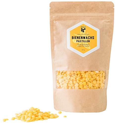 beegut Cera de Abeja Natural y Pura. Cera de Abeja Amarilla de 200 g. Pastillas adecuadas para cosméticos Naturales caseros y Velas.