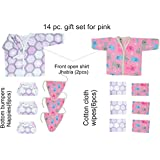 14 Piece New Born Baby Girl Boy Cartoon Print Gift Set Super Soft 100% Cotton 2 Shirt Jhabla 6 Wipes 6 Nappies Bottom Bumpers (Pink, 14 Pc Set)