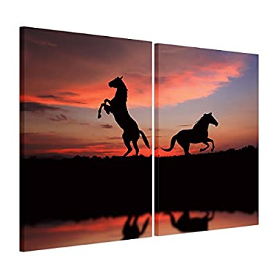 UNIQUEBELLA The Horse painting printed on Canvas, Poster print painting on Canvas for Home kids room decoration for Home Decoration (No Frame,unmounted), 1 pc/set 50*50cm*1