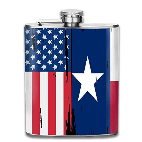 EJUNLEKEJI Flachmann aus Edelstahl American Texas Flag Premium 304 Stainless Steel Hip Flask Groomsman Flask Great Gift 7 Oz