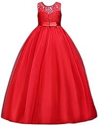 d03f5207312 Elonglin Fille Longue Robe de Princesse Dentelles Mariage pour Demoiselle  Robe de Soirée Broderie Taille Haute