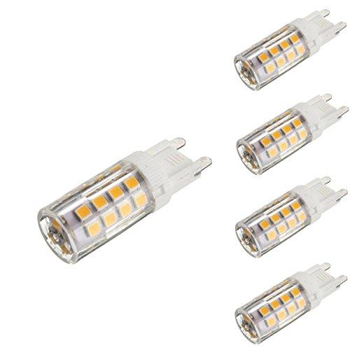 KINGSO 4x G9 LED Lampe 5W Glühlampe Ersatz für Halogenlampe 2800-3200K 400LM Nicht Dimmbar 35 SMD 2835 Omni-direktionales Licht mit Keramik-Lampenfassung 360 Grad Abstrahlwinkel Energiesparlampe 220-240V Warmweiß