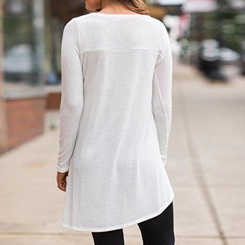 Tonsee Femmes irrégulières Chemise pleine à manches longues Sweatshirt Pullover Tops Blouse Blanc