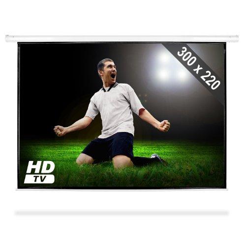FrontStage Schermo per proiezioni 150'' (proiettori DLP e LCD, home cinema HDTV, 300 x 220 cm, struttura in metallo, fattore guadagno 1.0, avvolgibile)