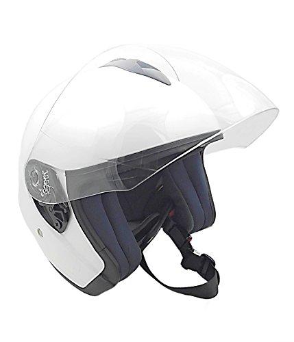 KENROD casque de moto ouvert | Jet V10 | Visière anti-rayures | CE approuvé | Blanc | Taille M