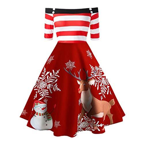 SomeTeam Womens Weihnachten Off Shoulder Elch Print Streifen Vintage Abend Party Flare Kleid Weihnachten Schulter Streifen Christmas Elch Print Vintage Big Dress