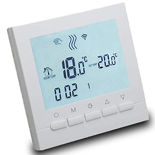 AVStarThermostat programmable intelligent pour chauffage de chaudières à gaz-écran LCD pour facilité de contrôle et programmation - boîtier et éclairage blanc élégant-Fonctionne avec piles