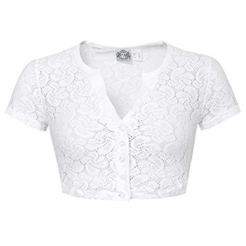 Hammerschmid Damen Trachten-Mode Dirndlbluse Gerlinde in Weiß traditionell, Größe:48, Farbe:Weiß