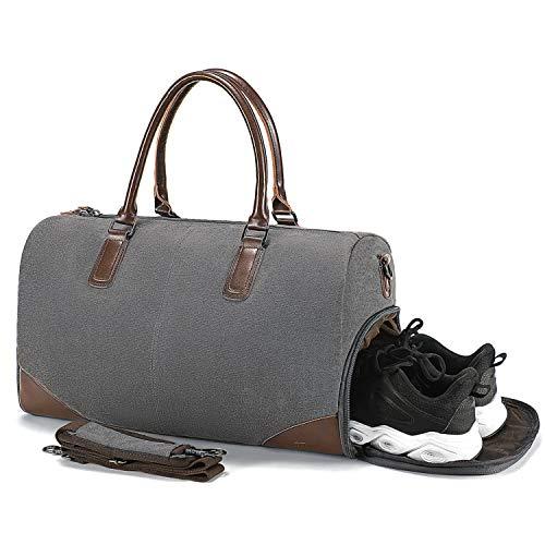 Fresion Retro Sporttasche Reisetasche Herren - Canvas Reisetaschen mit Schuhfach und 15 Zoll Laptopfach, Weekender Handgepäck Tasche mit PU Leder Damen-Schultertaschen Umhängetaschen Männer,Grau (Männer Für Geist Einfache Schuhe)