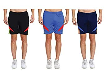M.R.D. Running & Sports Shorts for Men with Zipper Pockets (Free Size Waist 28 to 34 Inch) (Black, Navy Blue, Light Blue)