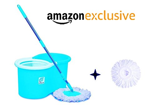 Esquire Spin Mop with 360° Spin, Telescopic Rod and Free Refill (Blue, White)
