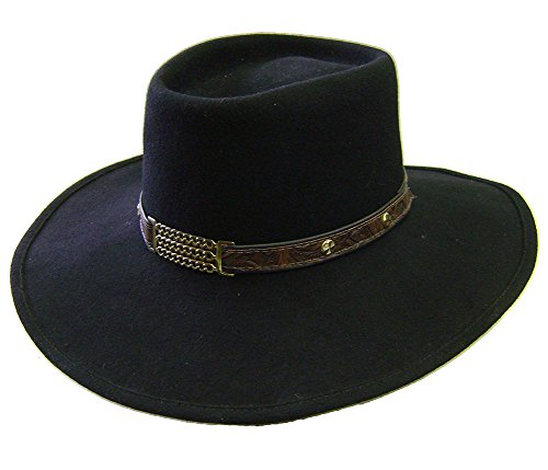 18151db6 Modestone Espagnol Wool Felt Metal Chains Leather Hatband Studs Chapeaux  Cowboy S