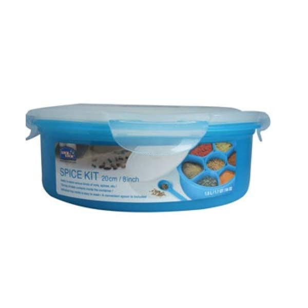 Lock & Lock Round Storage Container - Clear/Blue, 1.6 L 1