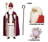 Scherzwelt Nikolaus Kostüm Bischof Weihnachten Gr L/XL + Handschuhe + Perücke - Bart + Stab