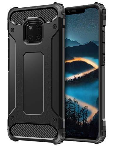 Coolden Huawei Mate 20 Pro Hülle,Premium [Armor Series] Outdoor Stoßfest Handyhülle Silikon TPU + PC Bumper Cover Doppelschichter Schutz Hülle für Huawei Mate 20 Pro (Schwarz)