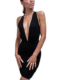 Donna Elegante con Lo Scollo A V Criss Cross Bodycon Scollato Vestito da  Cocktail 384051ee8c7
