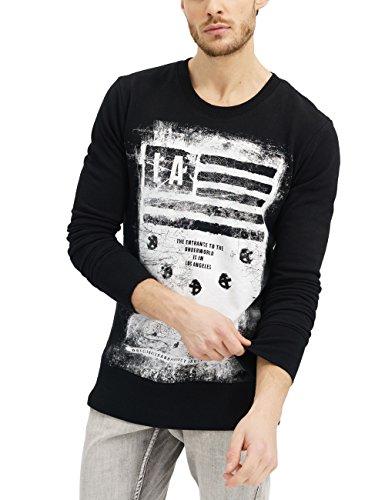 trueprodigy Casual Herren Marken Sweatshirt mit Aufdruck, Oberteil cool und stylisch mit Rundhals (Langarm & Slim Fit), Sweatshirt für Männer in Farbe: Schwarz 2582117-2999 Black
