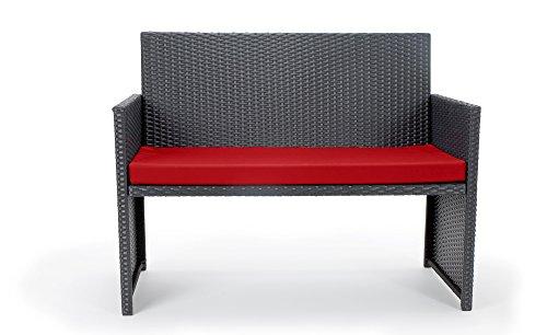 Rattan4Life 4-teilig Neapel Deluxe Polyrattan Gartenmöbel Set, Sofa / Lounge / Gartengarnitur / Kissenbezug, schwarz / rot - 3