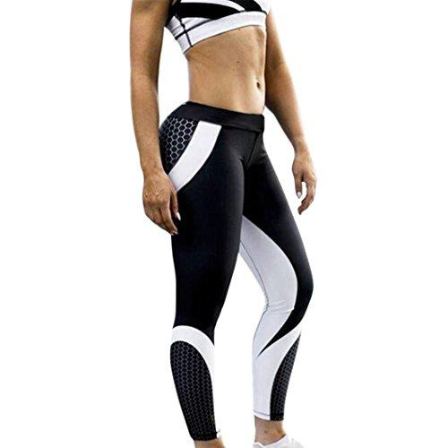 Flachs Beschnitten (Damen Hosen,Sonnena Frauen Mode 3D Drucken Yoga Skinny Workout Gym Leggings Sport Training beschnitten Hosen Stretch Workout Schwarz Wabenmuster Jogginghose Fitness Gymnastik (Schwarz, XL))