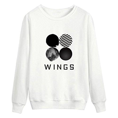 Hmeng O-Ausschnitt Frauen Mädchen Kurzes Sweatshirt Langärmlige Pullover Pullover Wildleder Pullover Tops (L, Weiß) (Twill Mantel Kinder)