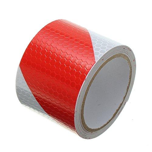 Tuqiang® 300 cm × 5 cm Rouge avec Blanc sergé Bande réfléchissante Autocollant d'avertissement de sécurité de visibilité Nuit Bande réfléchissante ruban film autocollant