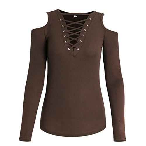 Yidarton Donna Manica Lunga Maglia a Maniche Lunghe Camicetta Girocollo Collo V T-shirt Sexy Tops Marrone
