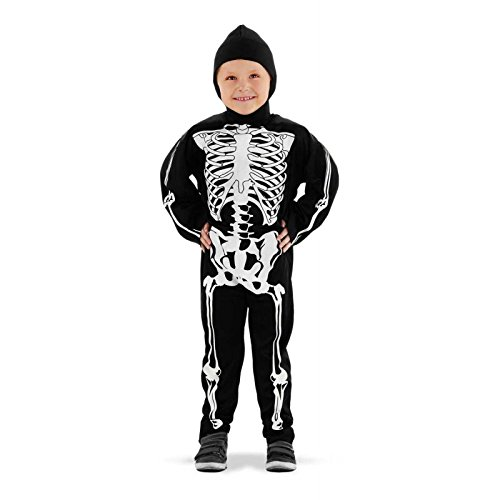 Folat 23681 Skelett Kostüm Costume, schwarz/weiß 116-134, M (Kletter Halloween Kostüme)