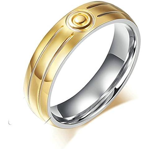 Daesar Joyería Anillo Compromiso Acero de Mujer Hombre, Oro Circonita Remolino Banda Venda para Parejas Joyas Regalos