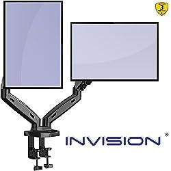 """Invision Support Écran PC Moniteur pour 2 Ecrans, Bras Articulé Ergonomique Ressort à Gaz pour Écrans 43-68,5cm (17-27"""") Réglable Inclinaison Pivot et Fixation, VESA 75 & 100mm. Poids 2-6,5kg (MX300)"""