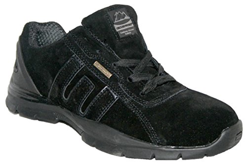 Groundwork MENS GR86 LIGHTWEIGHT LEATHER UPPERS, STEEL TOE CAP LACE UP SAFETY TRAINER.